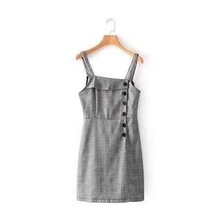 checkered plaid spag dress