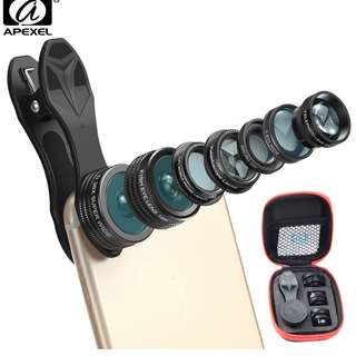 7 in 1 Phone Camera Lens Kit Fish Eye Wide Angle/macro Lens CPL Kaleidoscope and 2X telephoto zoom Lens for iPhone6s 7DG7