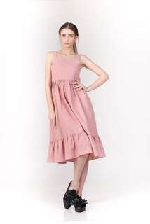 Dress dusty pink - back tie dress - Shoptherapee