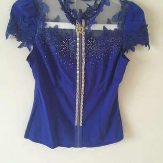 Baju pesta atasan biru