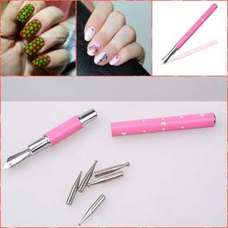 1Pc Dotting Pen with 5 Dotting Heads Painting Liner Drawing Pen Manicure Nail Art Tool Set Random Color