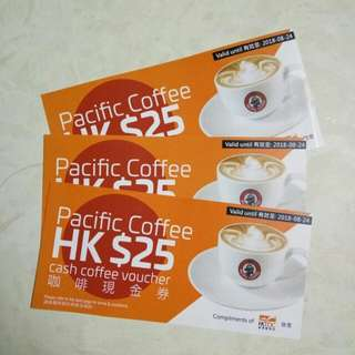 Pacific Coffee HKD25 Cash coupons x 3
