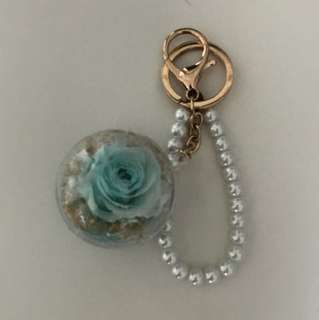 Rose in a ball keychain