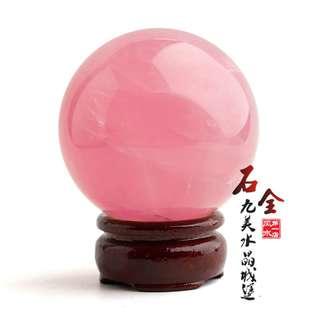 2018旺人緣粉水晶球擺件 桌上裝飾(3cm座枱擺設)