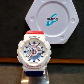 * FREE DELIVERY * Brand New 100% Authentic Casio BabyG White Red Blue Baby G Ladies Watxh Baby-G BA110TR 7 BA110TR-7ADR