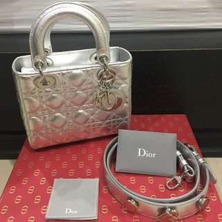 Like New Lady dior silver small size