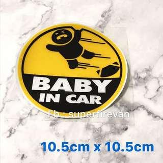 防水反光貼紙 彩色車貼 警告語句 標示告示 BABY IN CAR (包郵)