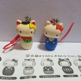 Takara Tomy Capsule Toy - Hello Kitty Wooden Mascot (1 pair)