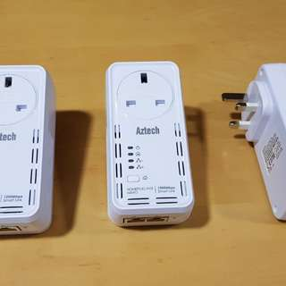 3x Aztech HL129EP Smart Link HomePlug AV2 1200Mbps with Power Passthrough