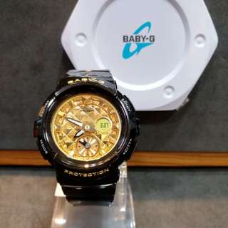 * FREE DELIVERY * Brand New 100% Authentic Casio BabyG Black Gold Baby G Ladies Watch Baby-G BGA195M 1 BGA195M-1ADR