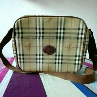 Authentic Burberrys Genuine Leather Travel Bag
