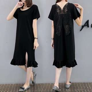 (XL~5XL) Korea In the long section of fashion back halter dress