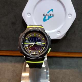 * FREE DELIVERY * Brand New 100% Authentic Casio BabyG Black & Green Trims Baby G Ladies Watch Baby-G BGA240 1A2 BGA240-1A2DR