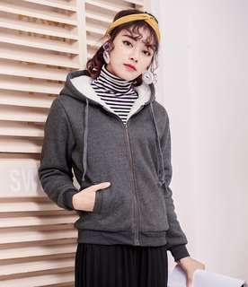 Solid Coloured Inner Fur Designed Drawstring Hooded Jacket