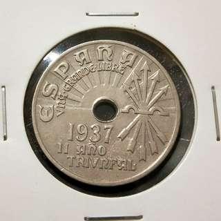 1937 Espana 25 cents.