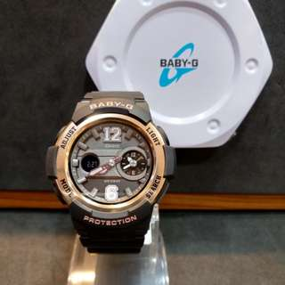 * FREE DELIVERY * Brand New 100% Authentic Casio BabyG Rose Gold Bezel Baby G Ladies Watch Baby-G BGA210 1B BGA210-1BDR