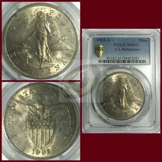 1903-S US-Philippines Peso - PCGS MS61