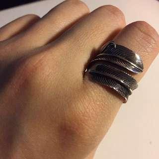 純銀925 羽毛戒指