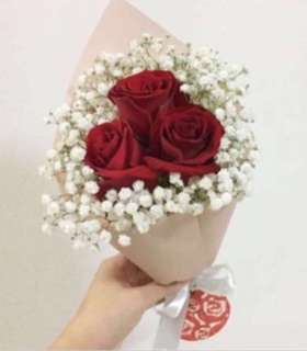 Red Rose with Baby Breath Bouquet / Birthday Bouquet / Sale