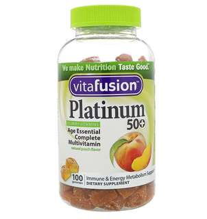 ✨PO✨ VitaFusion, Platinum 50+ Gummy Vitamins Natural Peach Flavor 100 Gummies