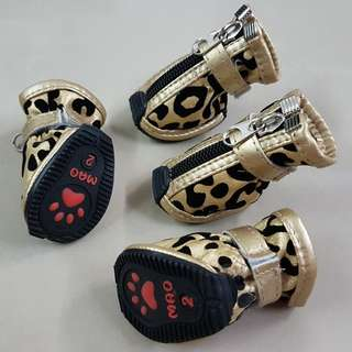 Dog Shoes / Pet Boots / Leopard Print Gold Shoes For Puppy