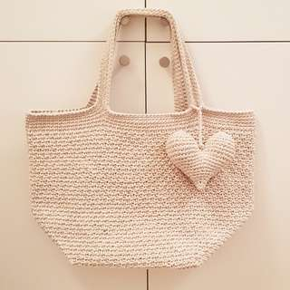 Square Base Basket Weave Crochet Bag - size Small to Medium