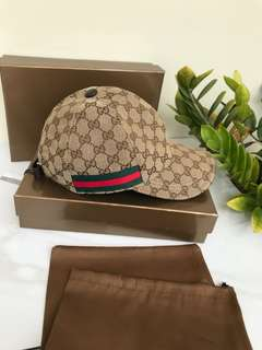 Topi Gucci (garis greenred)  premium#1  , 2 warna bahan Cotton tebal (mirip original) free box, berat 300gr  H 210rb