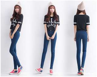 Mono-coloured Korean Style Designed Slim Skinny Jeans