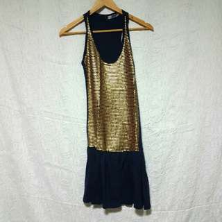 Topshop - Gold Sequined Dress