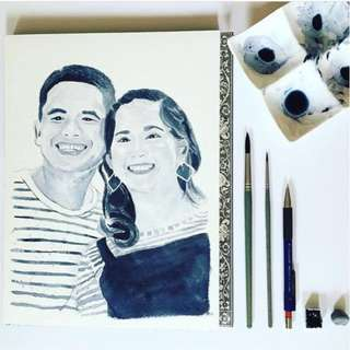 [Personalized] One-color Couple portrait, watercolor