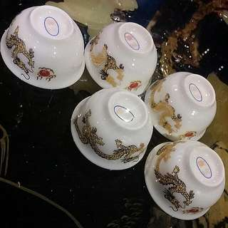5 Pcs Chinese Porcelain Gold Dragon Teacups