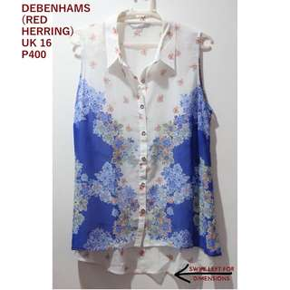 Debenhams (Red Herring) Blue And White Sleeveless Top