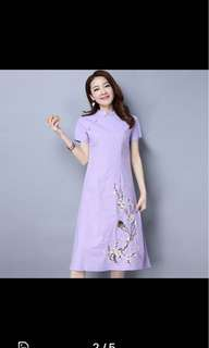 Spring retro women's cotton and hemp dress tea female Chinese style embroidery long skirt cheongsam in sz L.