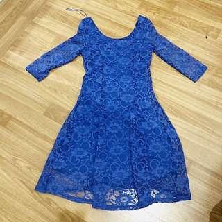 New!! Blue Lace Dress Newlook