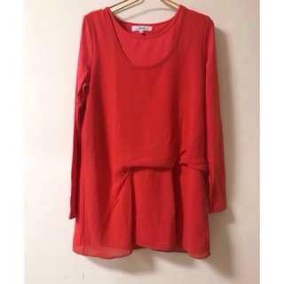 專櫃GINKOO亮紅色假兩件上衣