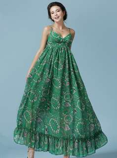 AO/ZDC070312 - Bohemia V-Neck High Waist Chiffon Beach Dress