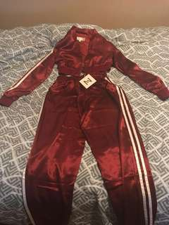 Red Satin Track Suit