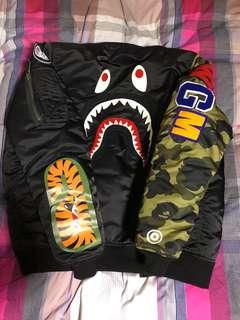 A BATHING APE bape 1st camo shark MA-1 jacket black