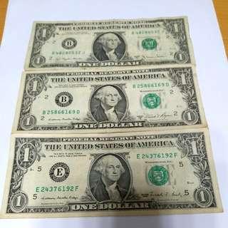美金壹圓三張U.S. Dollar