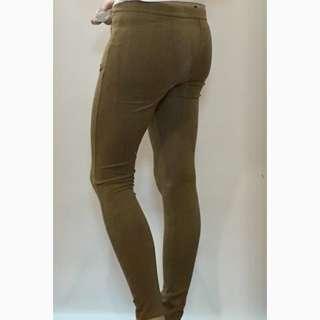 Legging Pants Beige Brown Khaki Brown Zip H&M