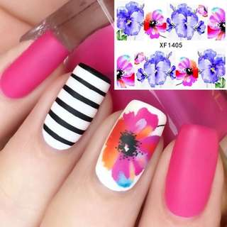 Flower Pattern Nail Water Decals Transfer Sticker Romantic Blue Red Painting Nail Art Decorations XF1405 #16259
