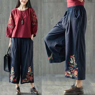 Plus Size Spring and summer elastic waist nine pants retro embroidery trousers cotton slacks loose casual pants