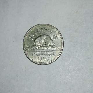 Canada 1995 5¢ coin