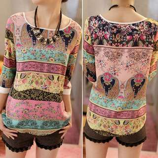 BNWT Korea Chiffon Silk Blouse