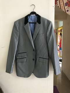Zara mens silver wedding formal suit smart causal 男裝型格銀色西裝褸外套