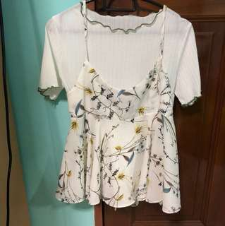 two piece floral top