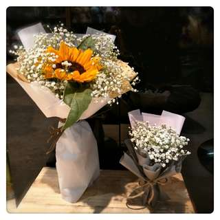 Mini baby breath and sunflower bouquet