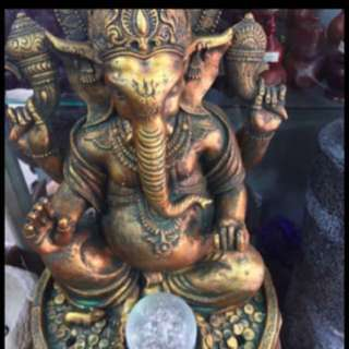 {FS138}  50cm tall Lord Ganesha Elephant God Fortune Water Fountain