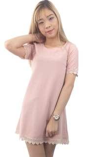 Pink Short Sleeve Crochet Lace Shift Dress