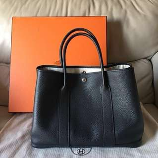 95%New Hermès Garden Party 36 black